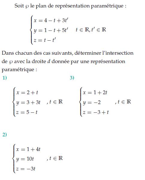Déterminer l'intersection d'un plan et d'une droite : exercices en terminale S.