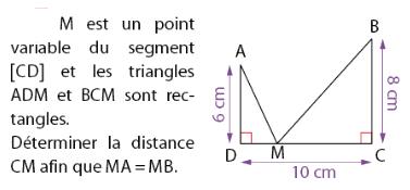 Déterminer la distance CM afin que MA=MB : exercices en 2de.