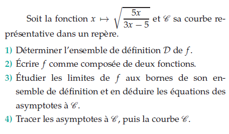 Déterminer l'ensemble de définition et limites de f : exercices en terminale S.
