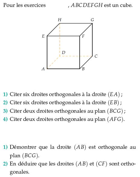 Citer des droites orthogonales : exercices en terminale S.