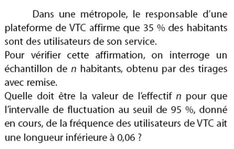 Responsable d'une plateforme de VTC et fluctuation : exercices en 2de.