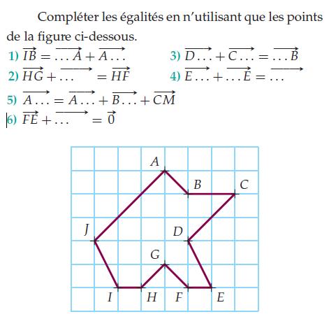 Compléter les égalités vectorielles : exercices en 2de.