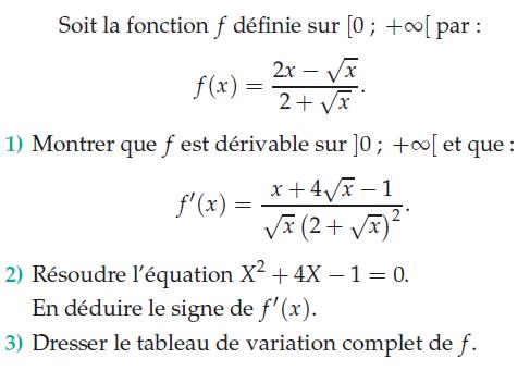 Montrer que f est dérivable : exercices en terminale S.