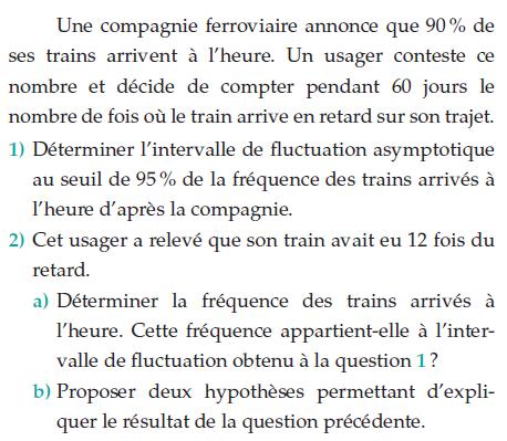 Une compagnie ferroviaire et fluctuation : exercices en terminale S.