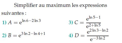 Simplifier des expressions contenant des logarithmes : exercices en terminale S.