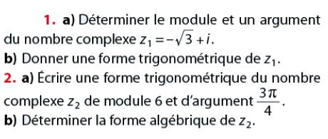 déterminer le module et l'argument : exercices en terminale S.