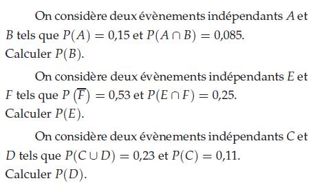 Deux événements indépendants : exercices en terminale S.