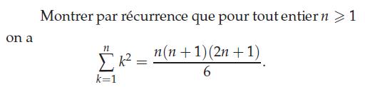 Démontrer la formule de la somme des carrés : exercices en terminale S.