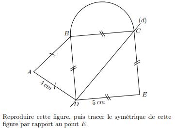 Tracer le symétrique de cette figure : exercices en 5ème.
