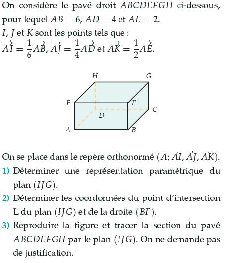Déterminer la section du pavé par un plan : exercices en terminale S.