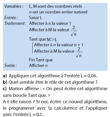 Algorithme et programmation : exercices en 2de.