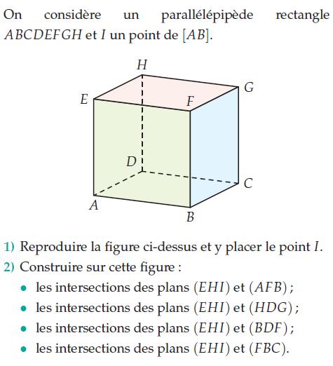 Intersections de plans dans l'espace : exercices en 2de.