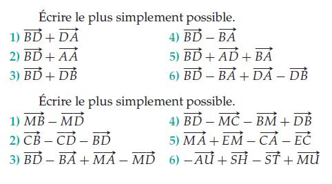 Simplifier des écritures vectorielles : exercices en 2de.