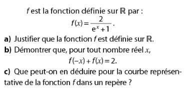 Fonction rationnele avec une exponentielle : exercices en terminale S.