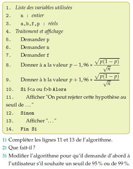 Algorithme et probabilités : exercices en terminale S.
