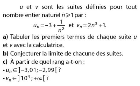 Calculatrice et limite de chacune des suites : exercices en terminale S.