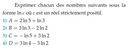 Exprimer les nombres sous forme ln c : exercices en terminale S.