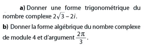 Forme trigonométrique et forme algébrique : exercices en terminale S.