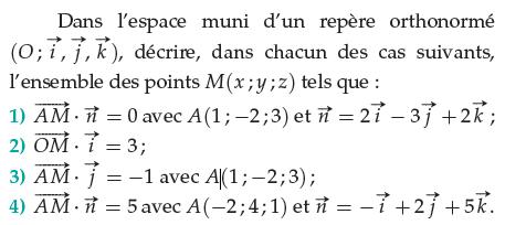 Décrire l'ensemble des points M : exercices en terminale S.