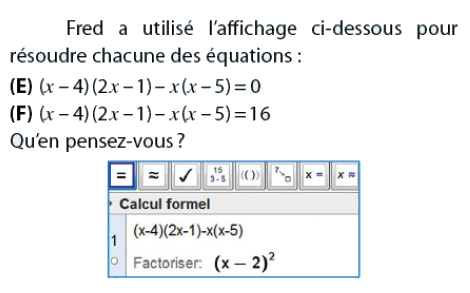 Equations et calcul formel : exercices en 2de.