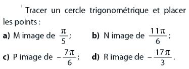 Image et cercle trigonométrique : exercices en 2de.