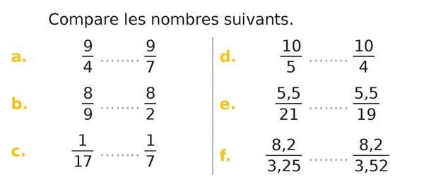 Comparer des fractions : exercices en 5ème.