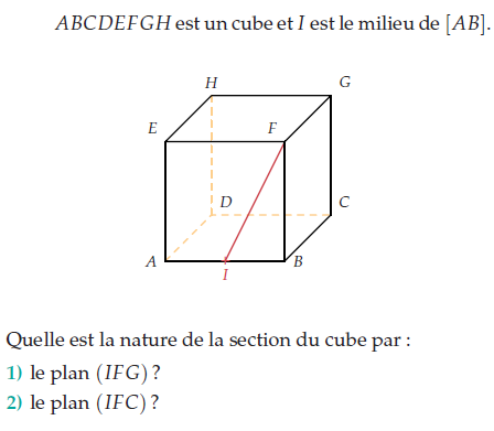 Quelle est la nature de la section d'un cube? : exercices en terminale S.