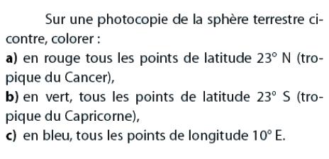 Photocopie de la sphère terrestre : exercices en 2de.