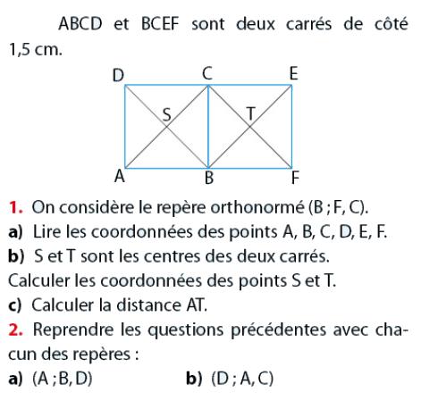 Coordonnées de points dans 2 carrés : exercices en 2de.