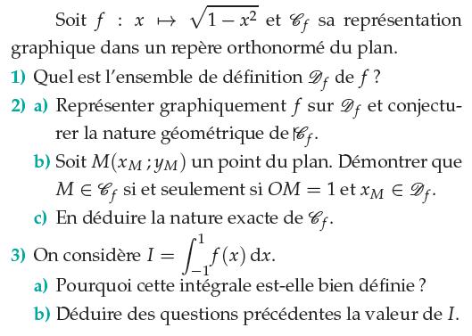 Une étude de fonction puis d'une intégrale : exercices en terminale S.