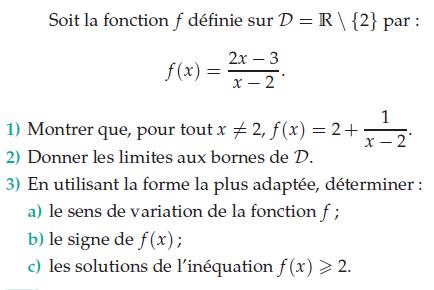 Sens de variation, signe et solutions de l'inéquation : exercices en terminale S.