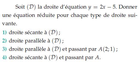 Donner une équation réduite : exercices en 2de.