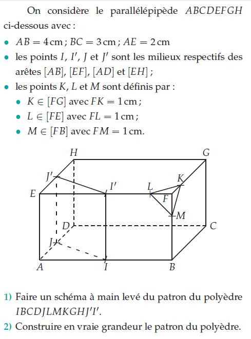 Patron du polyèdre : exercices en 2de.