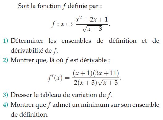 Montrer que f admet un minimum : exercices en terminale S.