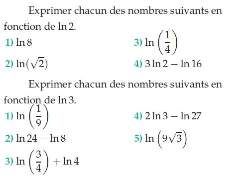 Exprimer les nombres avec ln 2 et ln 6 : exercices en terminale S.