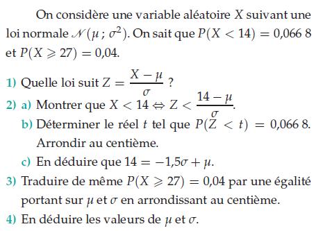 Une variable aléatoire X suivant une loi normale : exercices en terminale S.