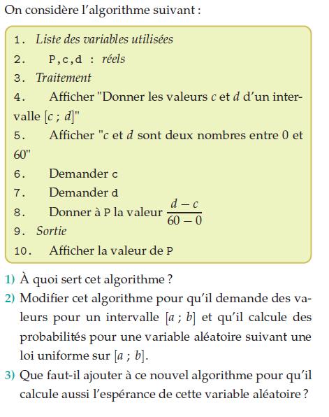 Algorithme  et espérance aléatoire : exercices en terminale S.