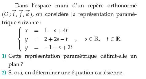 Cette représentation paramétrique définit-elle un plan? : exercices en terminale S.