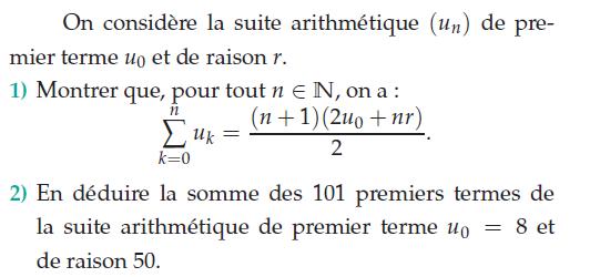 Calculer la somme des premiers entiers : exercices en terminale S.