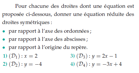 Donner une équation réduite des droites symétriques : exercices en 2de.