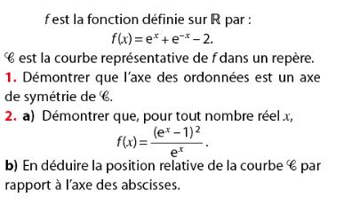 Axe de symétrie et position relative d'une courbe : exercices en terminale S.