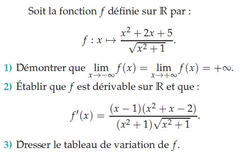 F dérivable et tableau de variation : exercices en terminale S.