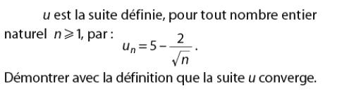 Démontrer que la suite converge : exercices en terminale S.