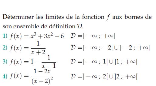 Déterminer les limites de la fonction aux bornes de son ensemble de définition : exercices en terminale S.