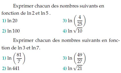 Expression et logarithmes : exercices en terminale S.