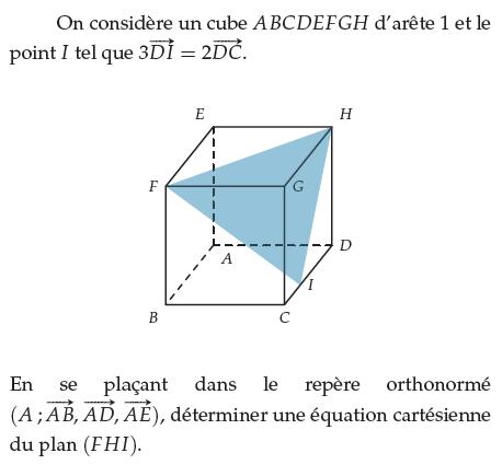 Un plan et son équation cartésienne : exercices en terminale S.