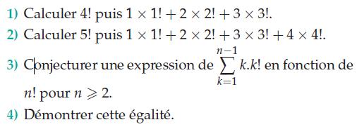 Produit factoriel et égalité : exercices en terminale S.