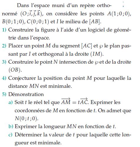 Déterminer la valeur de t pour laquelle la longueur est minimale : exercices en terminale S.