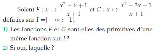 Les fonctions F et G sont-elles des primitives ? : exercices en terminale S.