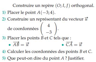 Calculer des coordonnées et tracer un représentant : exercices en 2de.